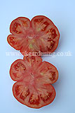 Large beefsteak tomato cut in two