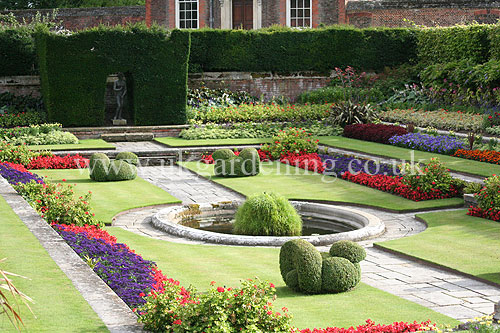 a photo of formal garden in hampton court palace gardens